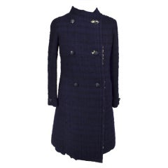 Chanel 70's Haute Couture Navy Shearling Skirt Suit