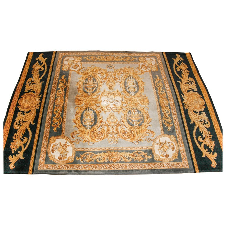Versace Vintage Multi Color Hand Knotted Area Rug At 1stdibs