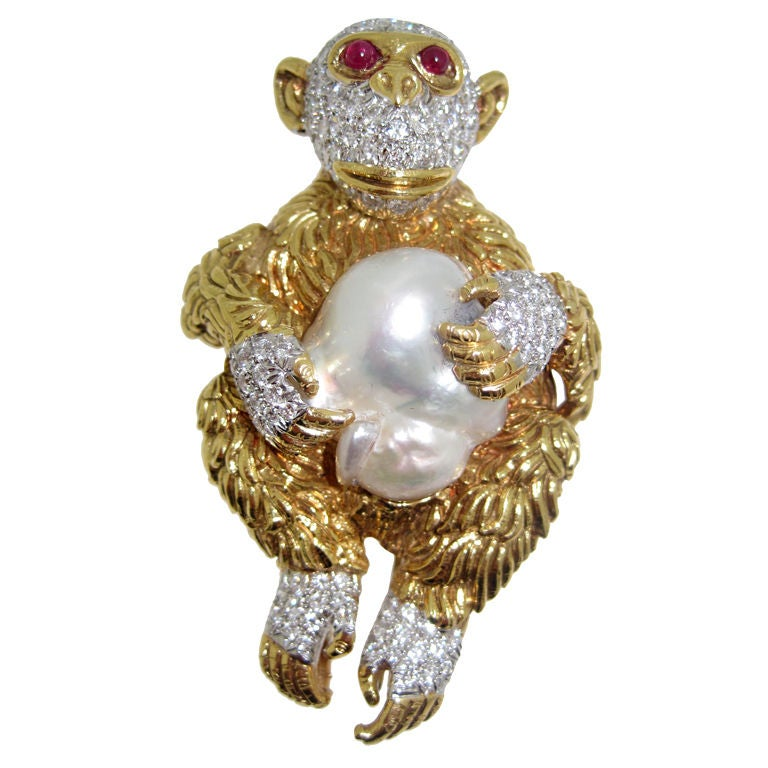 David Webb Monkey Brooch At 1stdibs