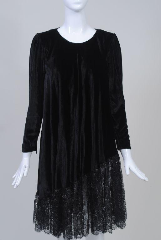 YSL VELVET AND LACE SWING DRESS 2
