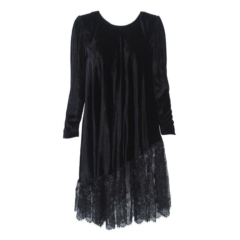 YSL VELVET AND LACE SWING DRESS 1