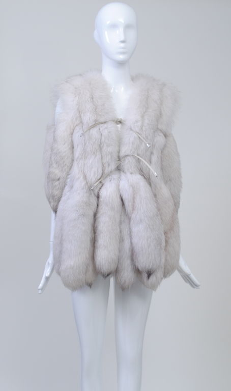WHITE FOX VEST WITH TAILS image 2