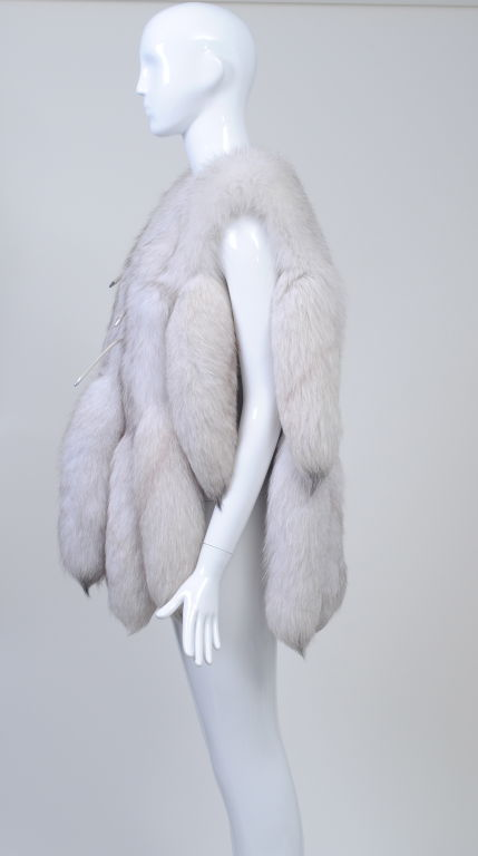 WHITE FOX VEST WITH TAILS image 3