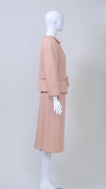 Beige Pink Wool 1960s Suit, Unlabeled Dior For Sale