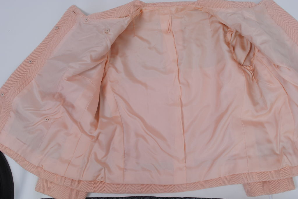 Pink Wool 1960s Suit, Unlabeled Dior In Excellent Condition For Sale In Alford, MA