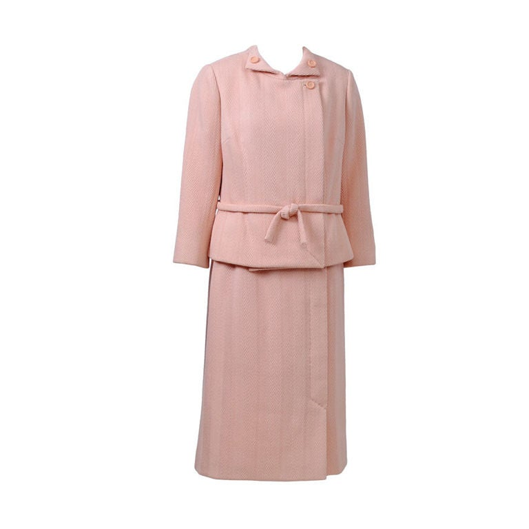 Pink Wool 1960s Suit, Unlabeled Dior