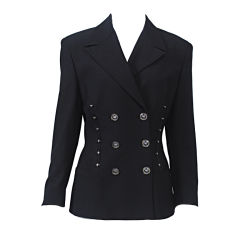 VERSACE BLACK BLAZER W/GLASS BUTTONS AND METAL DETAIL