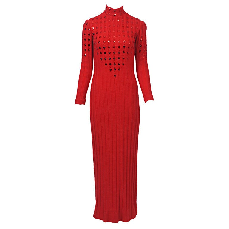 Red Maxi Sweater Dress With Paillettes For Sale At 1stdibs