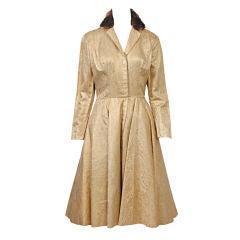 ESTEVEZ GOLD BROCADE C. 1960 DRESS W/MINK COLLAR