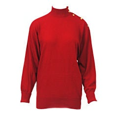 CHANEL RED CASHMERE MOCK-TURTLE PULLOVER