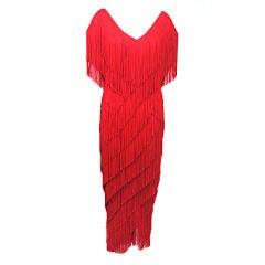 Wayne Clark Fringed Red Evening Dress
