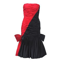MURRAY ARBEID RED AND BLACK STRAPLESS DRESS