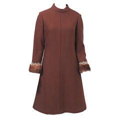 KIKI HART BROWN WOOL '60S DRESS WITH MINK CUFFS