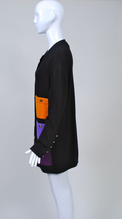 SCALERA BLACK CARDIGAN W/MULTI POCKETS 3