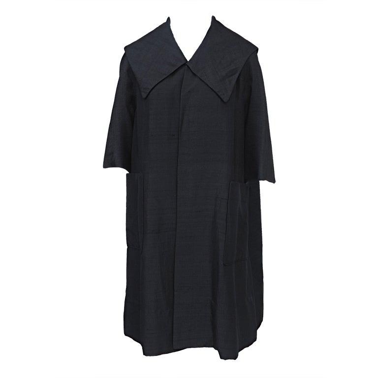 Black Raw Silk Opera Coat