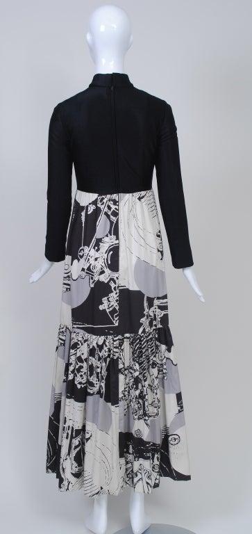 1970s Oscar de la Renta Black/Abstract Print Maxi Dress In Good Condition For Sale In Alford, MA