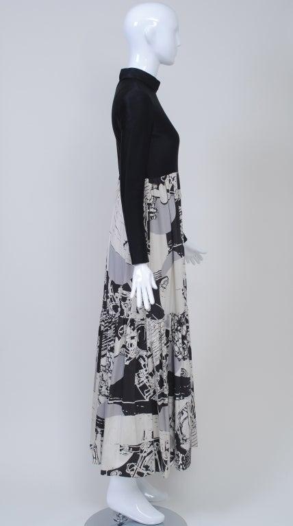 Women's 1970s Oscar de la Renta Black/Abstract Print Maxi Dress For Sale