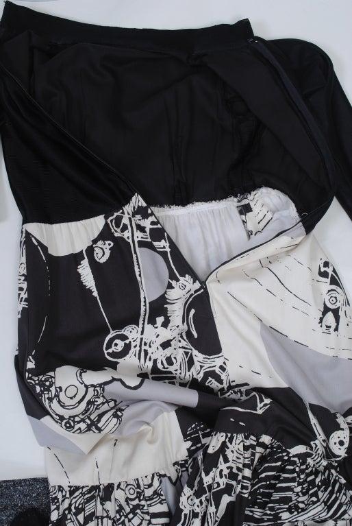 1970s Oscar de la Renta Black/Abstract Print Maxi Dress For Sale 3