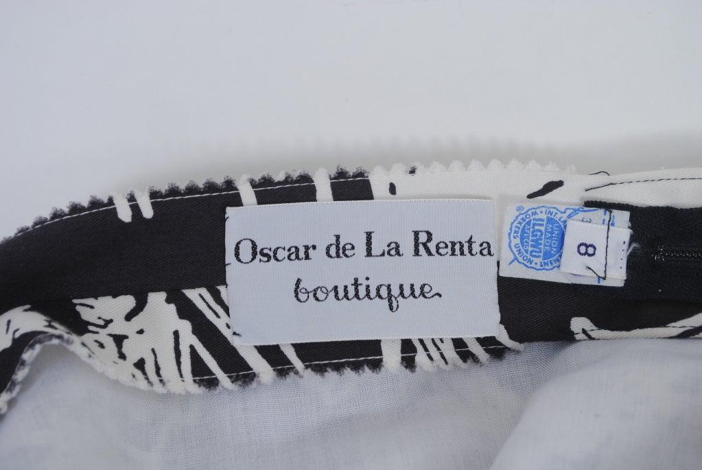 1970s Oscar de la Renta Black/Abstract Print Maxi Dress For Sale 4