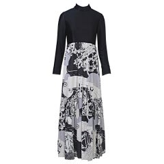 Oscar de la Rentl 1970x Black/Abstract Print Maxi Dress