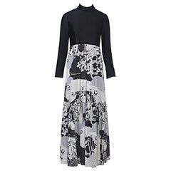 Oscar de la Renta 1970s Black/Abstract Print Maxi Dress