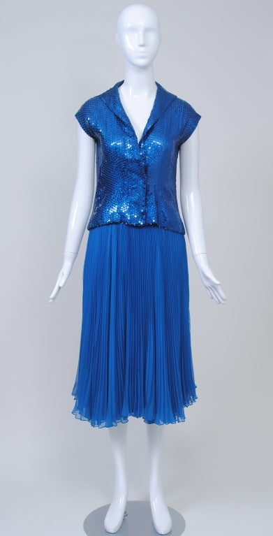 NORELL BLUE SEQUINED TOP AND CHIFFON SKIRT 2