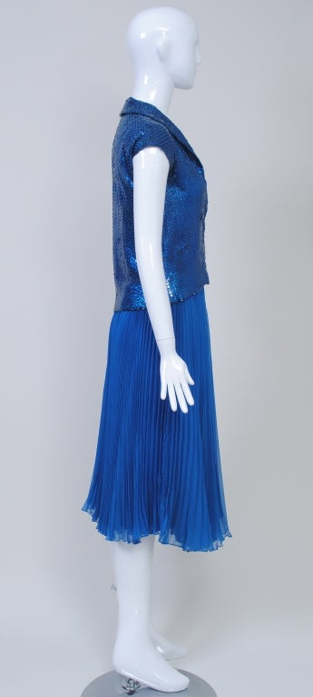 NORELL BLUE SEQUINED TOP AND CHIFFON SKIRT 4