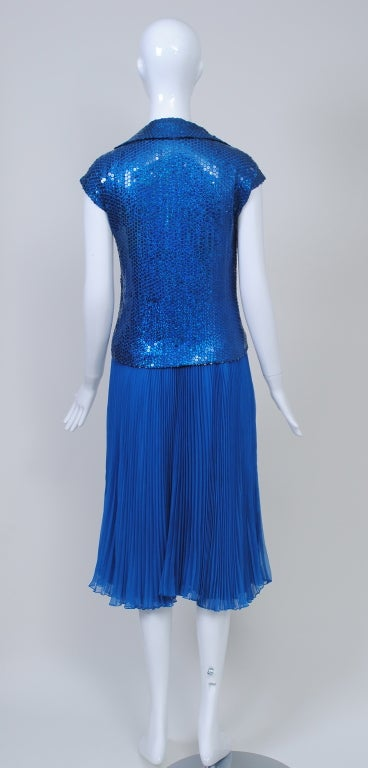 NORELL BLUE SEQUINED TOP AND CHIFFON SKIRT 5