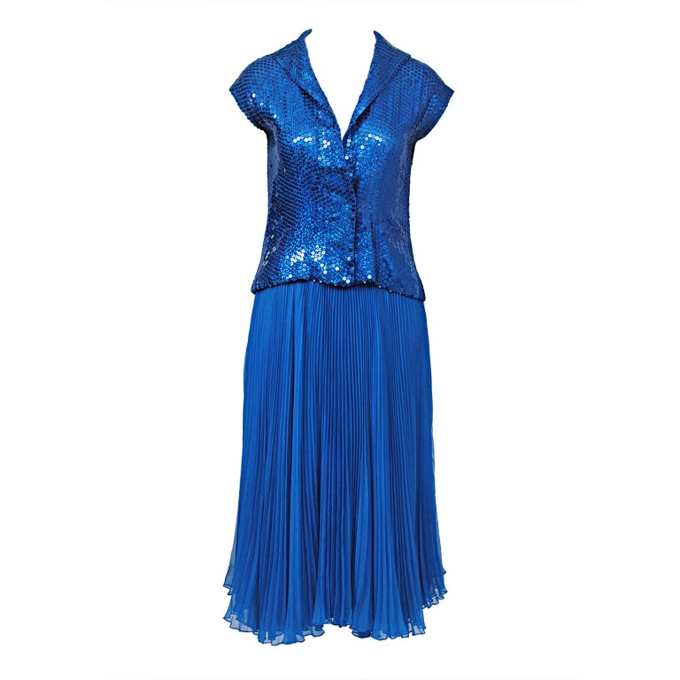 NORELL BLUE SEQUINED TOP AND CHIFFON SKIRT 1