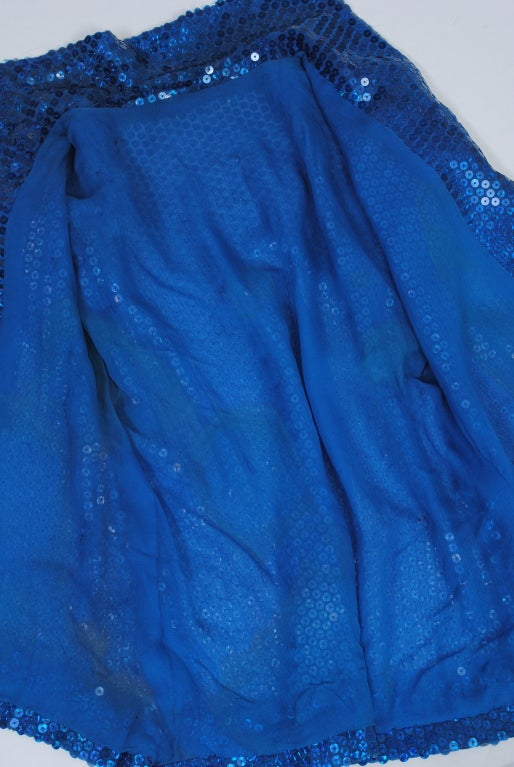NORELL BLUE SEQUINED TOP AND CHIFFON SKIRT 7