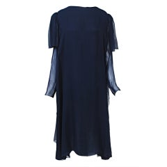 Stavrapoulos Navy Chiffon Cocktail Dress
