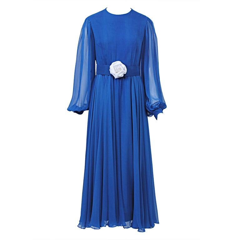 MALCOLM STARR ROYAL CHIFFON 1970S DRESS