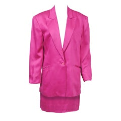 Stephen Sprouse Fuchsia Cotton Blazer and Skirt