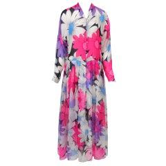 Hanae Mori Floral Print Chiffon Dress