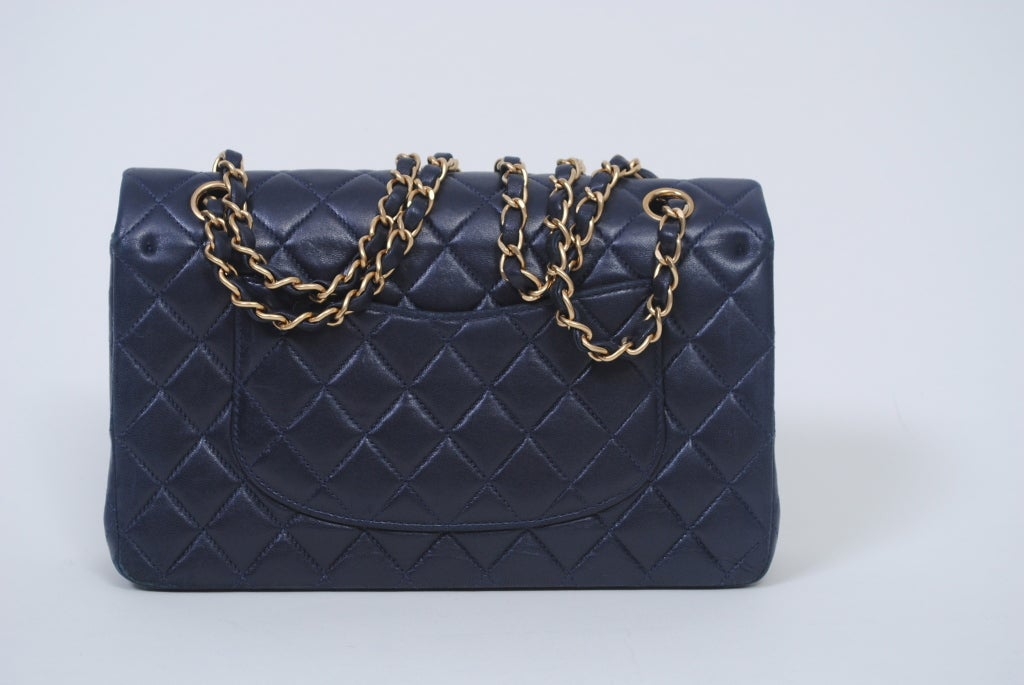 CHANEL CLASSIC NAVY  QUILTED DOUBLE-FLAP HANDBAG 3