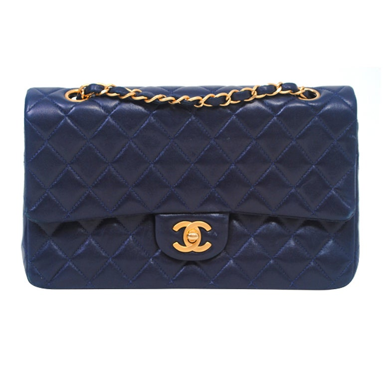 CHANEL CLASSIC NAVY  QUILTED DOUBLE-FLAP HANDBAG