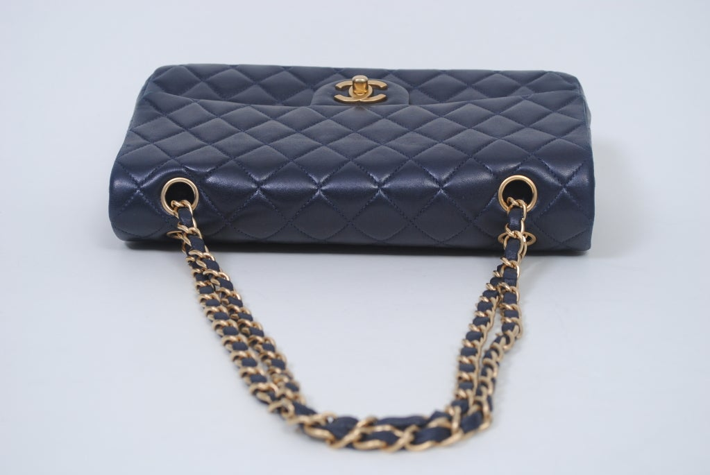 CHANEL CLASSIC NAVY  QUILTED DOUBLE-FLAP HANDBAG 6