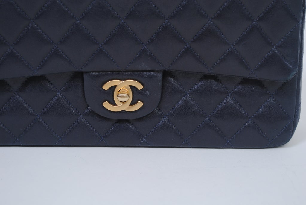 CHANEL CLASSIC NAVY  QUILTED DOUBLE-FLAP HANDBAG image 7