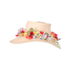 Sally Victor Straw Hat with Flowers