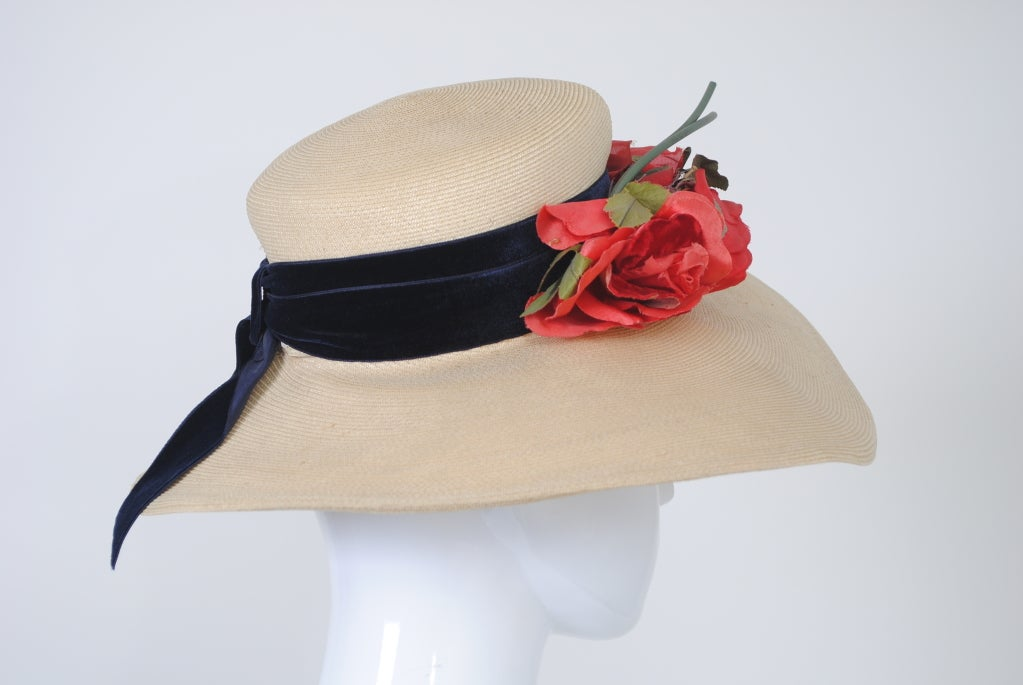 Women's 1940S STRAW HAT W/RED FLOWERS For Sale