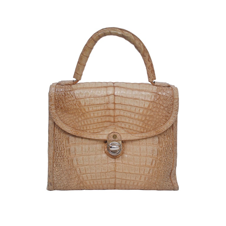 Goldpfeil Cocoa Crocodile Handbag For