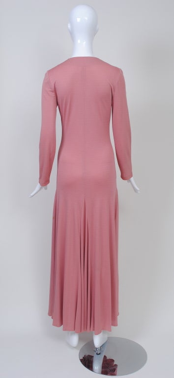 Sibley Coffee Dusty Rose Jersey Maxi Dress For Sale At 1stdibs