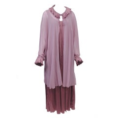 JOHN ANTHONY MAUVE PLEATED CHARMEUSE GOWN WITH CHIFFON COAT