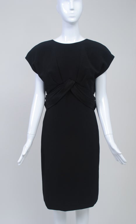 Frank Tignino Black Wool dress with Plunge Back 2