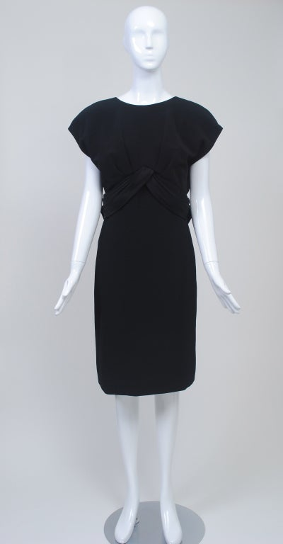 Frank Tignino Black Wool dress with Plunge Back 3