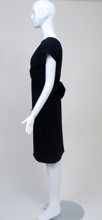 Frank Tignino Black Wool dress with Plunge Back 4