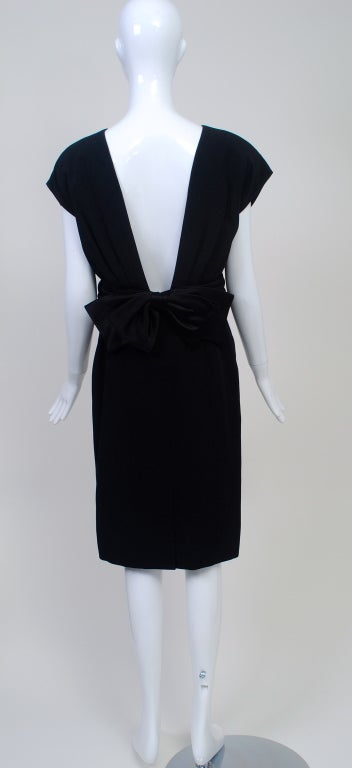 Frank Tignino Black Wool dress with Plunge Back 5