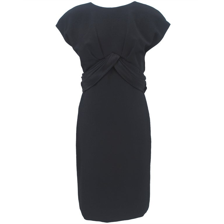 Frank Tignino Black Wool dress with Plunge Back 1