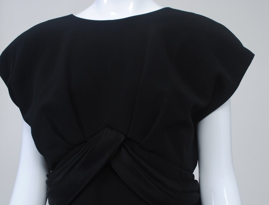 Frank Tignino Black Wool dress with Plunge Back 6