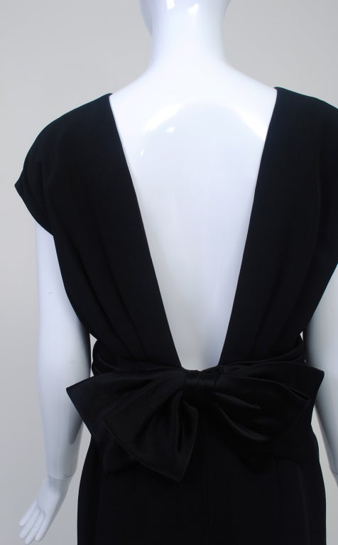 Frank Tignino Black Wool dress with Plunge Back 7